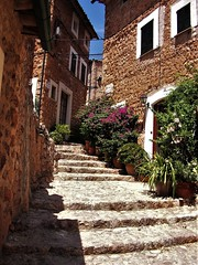 Narrow cobble stone street with plants in Fornalutx (pisces2386) Tags: spain sky stairs steps stone scenic rustic mountain old outdoor plants street summer view village wall window vacation travel sunny tourism town tramuntana mediterranean medieval city building destination europe facade blue beautiful ancient antique architecture balearic fornalutx green landmark landscape majorca mallorca island idyllic hill historical holiday house alley