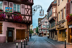 The Streets of Colmar (George Plakides) Tags: colmar elsace france streetscene shops houses halftimber bollards