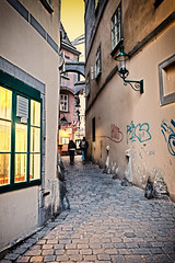 Lit Alleyway _9960 (hkoons) Tags: unescoworldheritage westerneurope lightsout settingsun austria capital city clouds europe unesco vienna architecture buildings business colors darkness doors dusk evening floors foundation historical history lamp lamps lights night old roof shadow structure sun sunset travel urban windows