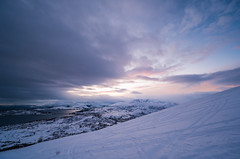 Majestic North (Ash and Debris) Tags: view rodtinden landscape winter nature water mountains colors rodtind clouds winterlandscape dusk norway climbing cold calm top elevated travel north scenic sunset sky aerialview snow europe sea mountain