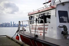 Fire Rescue Boat, Vancouver (Bearingrrr) Tags: skyline vancouver britishcolumbia canada firerescue harbour