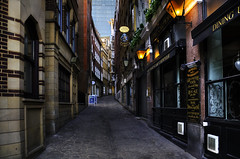 Depth Perception (Dimmilan) Tags: uk england london city urban architecture street windows nightlight perspective pub twilight buildings old