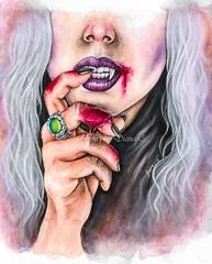 The vampire (diana_dark_art) Tags: watercolor painting vampire artwork gothic blood amateurartist workinprogress