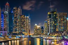 Dubai Marina at night (patuffel) Tags: dubai marina nigth skyline cityscape skyscraper longexposure uae emirates creek sea river yacht harbour leica 28mm summicron m10