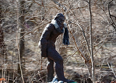 Could it be? (jcdriftwood) Tags: coulditbe bigfoot sasquatch unknown sighting folklore scarf woods legend big foot fur hairy statue figure motion motionblur trees foliage sculpture
