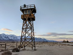 Ghost of Manzanar (Dolbelydr) Tags: manzanar landscape japanese internment guardtower sunrise sunset wwii