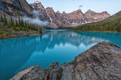 Early Light at Moraine Lake (B.E.K. Photography) Tags: moraine lake banff national park alberta canada autumn fall morning pine trees mountains snow turquise blue green glacial water rock reflection outdoor outside landscape nikond850 nikkor briankrouskie bek