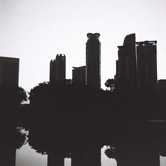 Silhouette (bdrc1989) Tags: asdgraphy film 6x6 agfa isolette agnar 85mm f45 classic analog analogue old relic square format blackandwhite black white monochrome manual klcc park twin towers morning shadow silhouette
