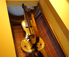 Cello Harp Hybrid (ElectroClown) Tags: music instruments musical sony alpha a77ii a580 a200 museum stpaul twincities minneapolis minnesota light line lights pov depth yellow color