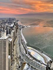 Pink Sky Morning (jnhPhoto) Tags: pink jnhphoto chicago cold lakemichigan lake sunrise