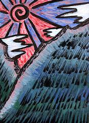 J-Sun Rising (Rayce Rapoza) Tags: japan risingsun japanese sunrays sunshine rising mountains bluesky sky inkbrush ink acrylic drawing painted art painting acrylicpaint okami mixedmedia visualarts illustration graphics artistic asian asia screenprint design side paint graphicdesign texture color creativity artwork sitting impressionism impressionistic sketch canvas brush clouds