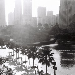 Park view (bdrc1989) Tags: asdgraphy film 6x6 agfa isolette agnar 85mm f45 classic analog analogue old relic square format blackandwhite black white monochrome manual klcc park twin towers morning