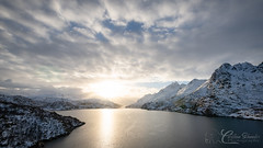 Lofoten Fjord (christianschmaler) Tags: lofoten islands fjord landscape landschaft naturephotography naturfotografie sun ocean sea ozean meer water wasser mountains berge schnee snow clouds wolken wideangle weite weitwinkel panorama norway norwegen christianschmaler