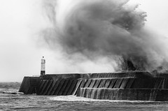 Storm Dennis and the Face over Porthcawl Lighthouse... (Allan James Fisher) Tags: porthcawl storm lighthouse monochrome bw blackwhite stormdennis water sea wales wave face stormy