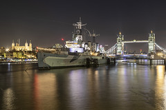 2 Towers and a Boat (Newdawn images) Tags: towerbridge toweroflondon hmsbelfast london riverthames nightshoot nightphotography longexposure canoneos5dmarkiv canonef24105mmf4lisusm