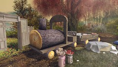 Rustic life (Rose Sternberg) Tags: deco decor home furniture garden interior outdoor landscape second life february 2020 serenity style goose express locomotive wagon fall love gate unik event exclusive pink rose milkaid hay bale happy mood sweet grass train travel