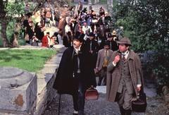 Brig - Holmes & Watson (Philip Porter & Tim Owen) lead the way to the Stockalper Palace (photo courtesy of Tim Own)