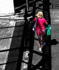 Woman 01 (Diripics) Tags: bw spot colour bag shopping shadows