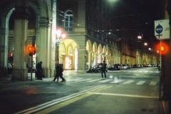 Bologna (goodfella2459) Tags: nikonf4 afnikkor50mmf14dlens cinestill800t 35mm c41 film analog colour night bologna italy city road streets buildings pedestrians manilovefilm light