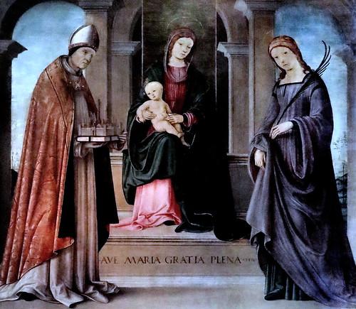 IMG_7747 Lorenzo Costa 1460-1535 Ferrara Mantoua  Vierge à l'Enfant Saints Petronio et Tecla  1496 Bologna Pinacoteca Nazionale