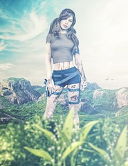 Hunter (JoJo - Taking Clients (Just send me a message :-))) Tags: bush green plant flowers lily valley white mountains sky blue clouds female blood wound scratch mud tactical belt black shorts tshirt brown beige pig tails margot robbie