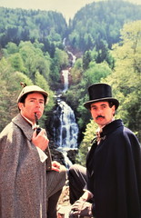 Holmes & Watson (Philip Porter & Tim Owen) contemplate the majesty of the waterfall at Giessbach (photo courtesy of Tim Owen)