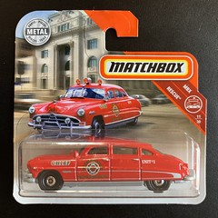 Mattel Matchbox -  Number 64 / 125 - MBX Rescue - Number 11 / 30 - '51 Hudson Hornet  - Fire Department - Chief Car - Miniature Diecast Metal Scale Model Emergency Services Vehicle. (firehouse.ie) Tags: nuwanfiredepartment nuwan fernandovalley mbxrescue mbx coches coche cars car department chief fd fire hudsonhornet hudson miniatures miniature metal models model mattel matchbox shortcard