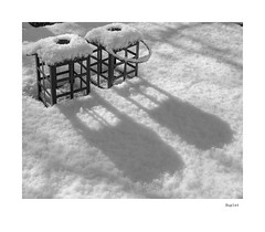 Duplet (agianelo) Tags: two candle holder snow powder cover shadow monochrome bw bn blackandwhite