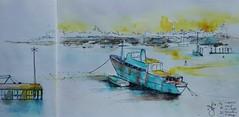 Lorient La rade (andreelg) Tags: aquarelle watercolour watercolor encre ink bateau ship harbour port croquis sketch