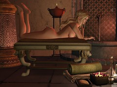 Naked at the Altinum Baths (maxime.wildrose) Tags: roman baths candles flicker golden blonde domina oils perfume lamp fountain couch naked lions