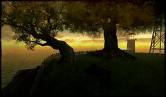 Twilight (Shara Thiva) Tags: second life sl landscape tree twilight dawn relax old alpha moon