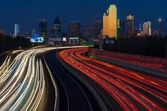 Light Streams! (incastar7) Tags: city red skyline night dallas downtown tx cartrails longexposure buildings lights golden lightstream