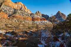 The Virgin River and the Watchman Covered in Snow (LNY_Photography) Tags: sandstone snow trees usa utah virginriver winter zion zioncanyon zionnationalpark blue landscape photography rocks scenicnature shape varnish