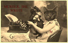 Murder, She Wrote.🙀 (Cabinet of Old Secret Loves) Tags: knivesout murdermystery ghost ghosts paranormalromance ghostories familyday gothiclove maggie bat toycat writer mystery haunting tale spirit spirits mindfullness momentintime moment pet pets rescuecats anthropomorphic