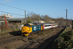 37401 Trowse 17/02/20 - 37401 'Mary Queen of Scots' thrashes away from Crown Point at Trowse on 17th February 2020. The Large Logo machine is leading two MK3 coaches to Neville Hill for maintenance. (rhayward92) Tags: geml great eastern main line train rail railway uk photography greateranglia anglia greater 37401 class 37 drs direct services 5z55