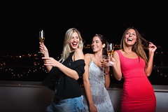 Three beautiful, cheerful women having a girls night out, having fun (JoTo PR) Tags: party people women friend girlsnightout girlsnight girls female celebrate celebration young nightout birthday newyear privateparty roofparty night nightlife adult enjoy happy together groupofpeople confetti fun joy cocktail dance 2019 smile bestfriends exciting partypeople friendship colorful cheerful modern birthdaycelebration cocktailparty serbia