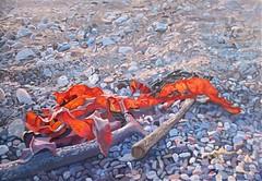 Sunlit Seaweed (niall mccarthy) Tags: seaweed painting niallmccarthy beachpebbles pebbles beach gouache irish art realism realistic cool glowing orange