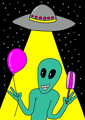 Happy Alien (irinasyrbul) Tags: alien alienabduction aliencartoon art astrological astronomy background card cartoon character colorful concept cool cosmos creative cute design friendly fun funny galaxy graphic green happy humanoid icecream illustration invade martian outer person planet poster scifi science ship sketch sky smile space spaceship standing star stars ufo ufoalien universe