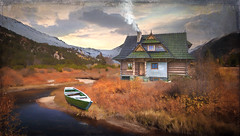 Mountain Life (jarr1520) Tags: landscape outdoor tranquil mountains snow sunset house light stream boat isolated solitary