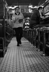 Daily Pace (timmerschester) Tags: digital monochrome plates diner museum lunch dinner breakfast meals food tile floor stools waitress michigan henryfordmuseum dearborn lamysdiner vintage nikond3500
