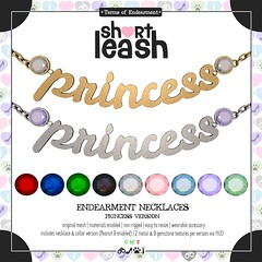 .:Short Leash:. Endearment Necklaces - Princess Version (Short Leash // original mesh & virtual kink) Tags: sl babygirl babydom necklace endearment pet name nameplate jewelry jewels gemstones gold silver submissive kawaii cute kinky wearables accessories rlv collars adult adorable bdsm fetish secondlife shortleash princess