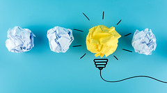 Inspiration concept crumpled paper light bulb metaphor for good idea, New Idea Concept. Crumpled Paper Balls on blue background. (JoTo PR) Tags: idea innovation concept creative creativity business paper lightbulb ideas bulb crumpled inspiration ball yellow brainstorming blue background solution bright imagination white invention motivation symbol success light brainstorm genius metaphor lamp electricity successful strategy illustration sketch concepts think competition glowing design thailand