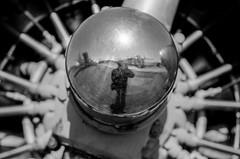 Reflection of Self (LXG_Photos) Tags: efm marchfieldairmuseum orthoplus velvet56 engine reflection aircraft analog monochrome shotonfilm ilford ishootfilm blancoynegro bw blackandwhite film filmisnotdead lensbaby seeinanewway