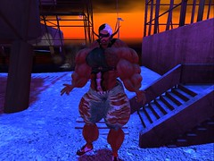 Been Here Before (Hunky Skunky) Tags: skelf secondlife second life blind muscle manly exhausted wornout veins devmuscle hairy beefy torn clash fallout confrontation portrait