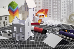 (CatMacBride) Tags: workinprogress paper papercraft cuttingmat house roofless