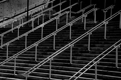 Slides (Bob_Wall) Tags: bobwall btwgf blackandwhite monochrome funny humor slide rails steps stairs sanjose ride