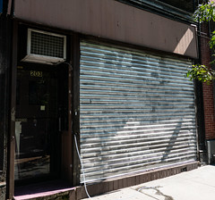 203 (UrbanphotoZ) Tags: storefront gate silver closed abandoned entrance corrugated patterned trees airconditioner bricks sidewalk e gl postit tube upperwestside manhattan newyorkcity newyork nyc ny