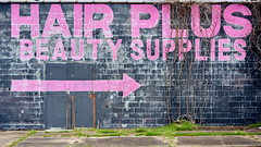 I Didn't Say You Needed It.  I Said You Might Want Too Load Up. (Dysfunctional Photographer) Tags: wall door brick pavement writing pink black green vines abandoned urban downtown pinebluff arkasnas 2020 usa nikon z7 nef raw captureone
