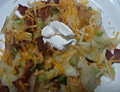 Loaded Fried Potatoes (novice09) Tags: food supper bacon potatoes sourcream cheese celery greenonions cellphone