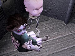 Zombie Doll (maxime.wildrose) Tags: zombie doll creepy clifton bows eyes glowing blood toy